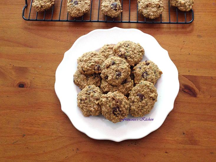 Zucchini Oat Nut Choc Cookies