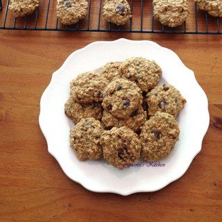 Zucchini Oat Nut Chocolate Cookies
