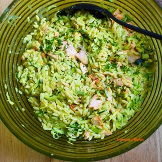 Creamy Orzo Pasta with Salmon, Zucchinis, and Leek