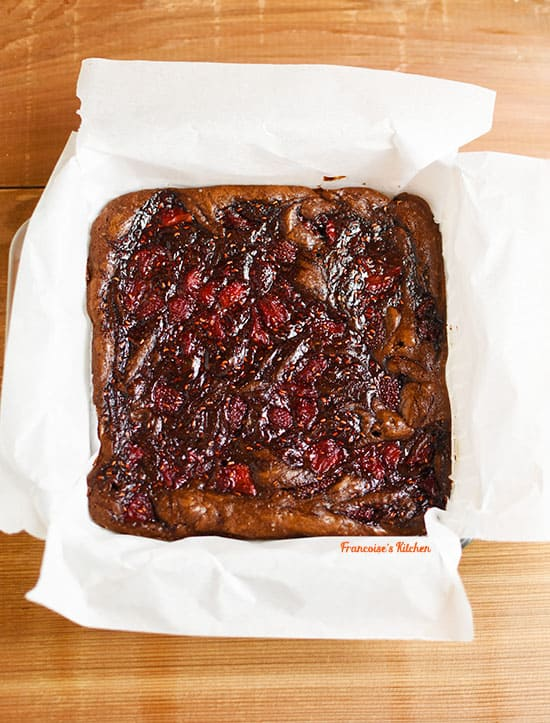 Strawberry Raspberry Balsamic Brownies