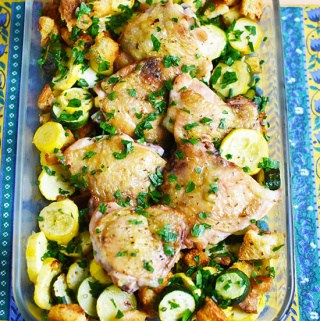 Sheet Pan Roasted Chicken with Summer Squash