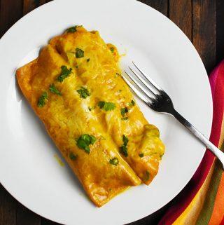Shrimp and Veggie Enchiladas  with Jalapeno Cream Sauce