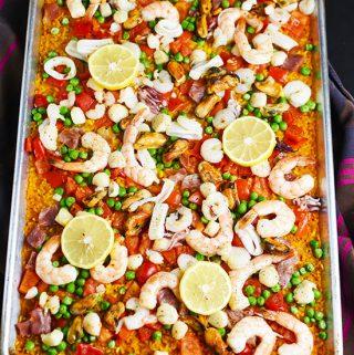 Sheet Pan Shrimp Seafood Rice