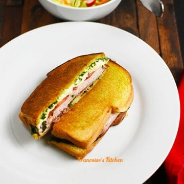 Croque Monsieur Pesto Ham Tomato Mozzarella served with a salad