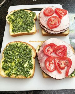 Croque Monsieur Pesto Ham Tomato Mozzarella
